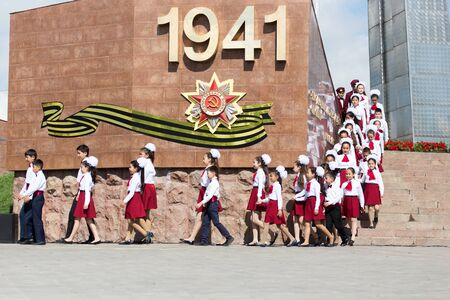 immortal: SHYMKENT city, KAZAKHSTAN MAY 9, 2015: Gala concert with the participation of children on Victory Day, in memory of the soldiers of the Great Patriotic War. Victory Day celebration in the city of Shymkent, Kazakhstan May 9, 2015