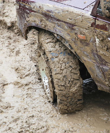 muck: SUV tire in the mud