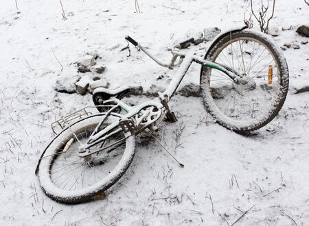 deep freeze: bike in the snow in the winter