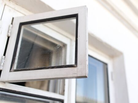 pane: white wooden window pane Stock Photo