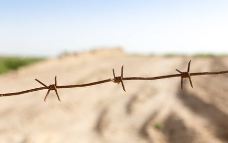 barbed wire fence in the nature