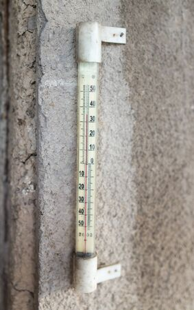old mercury: old thermometer on the wall