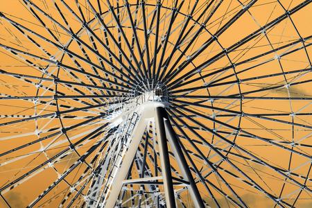 ferris wheel in inversion Stock Photo
