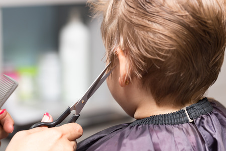 womens haircuts in the beauty salon Stock Photo