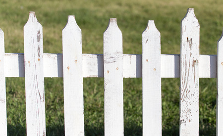 white wooden fence on nature Stock Photo