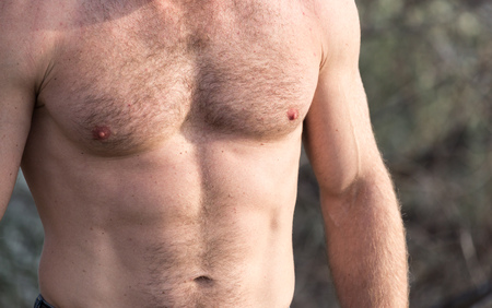 inflated: men inflated chest as background Stock Photo