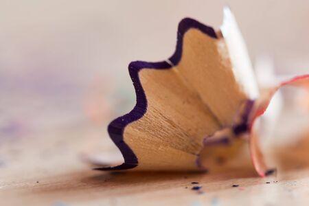 debris: debris from a pencil. macro Stock Photo