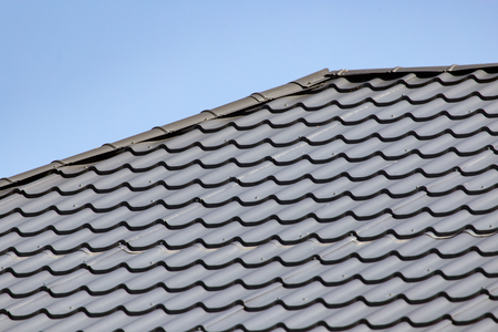 metal roofing roof as background Stock Photo