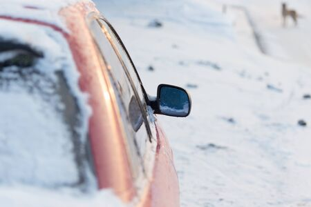 inclement weather: winter snow on cars Stock Photo