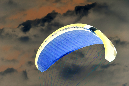 inversion: Extreme sport in the sky on a parachute Stock Photo