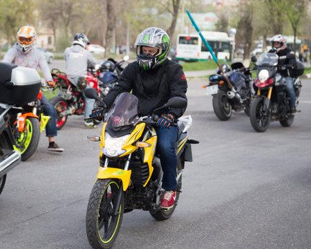 Shymkent, KAZAKHSTAN - March 15, 2017: Motorcycles at the opening of the biker season in Shymkent