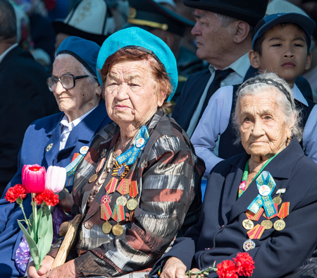 Shymkent, KAZAKHSTAN - May 9, 2017: Veterans of the war. The feast of the victory of the Red Army and Soviet people in the Great Patriotic War of 1941-1945. Editorial