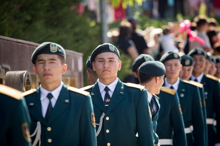 Shymkent, KAZAKHSTAN - May 9, 2017: Military soldiers on the Victory Day of the Red Army and Soviet people in the Great Patriotic War of 1941-1945.
