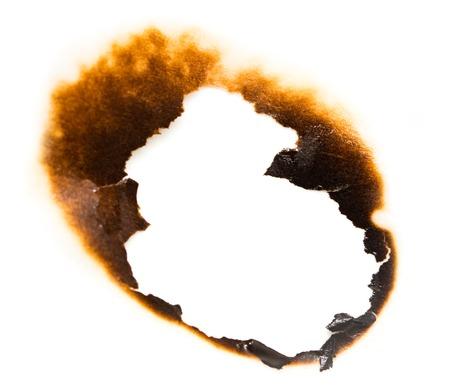 Trail van gebrand papier op witte achtergrond. Stockfoto