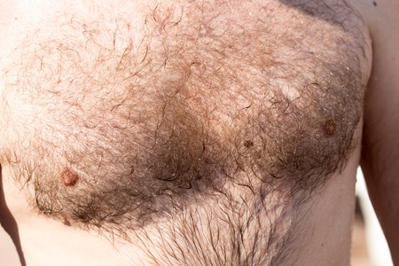 Hairy chest of a man in the open air . 版權商用圖片