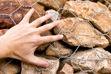 Mans hand on a stone wall in nature
