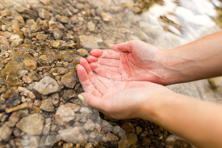 water in the spring in the hands