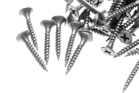 Screws for construction on a white background . Stock Photo