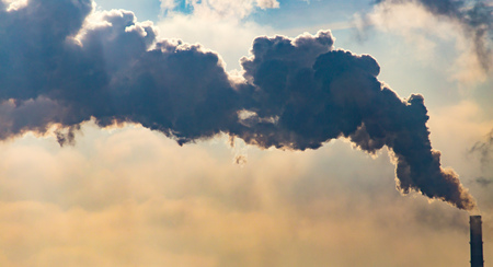 Industrial smoke from the plant pollutes the air