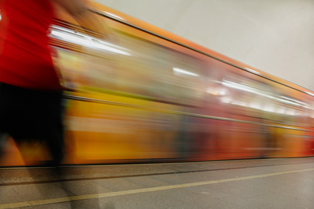 Train in motion in the subway as an abstract background .