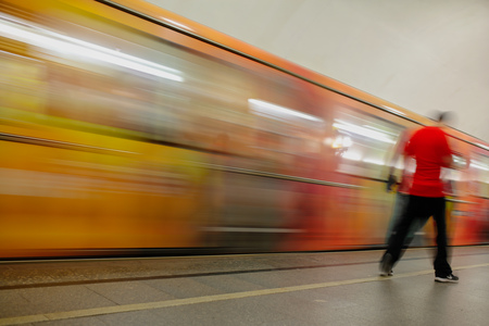 Train in motion in the subway as an abstract background . Banco de Imagens - 110734497