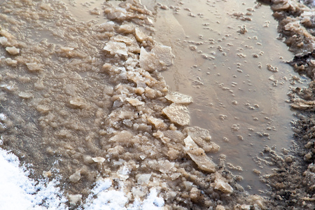 Frozen puddle on the road in winter .