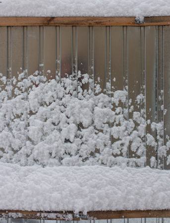 Snow on the fence in winter as a background .