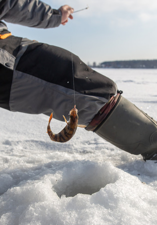 Man catches fish on ice in winter . Banque d'images - 113847283