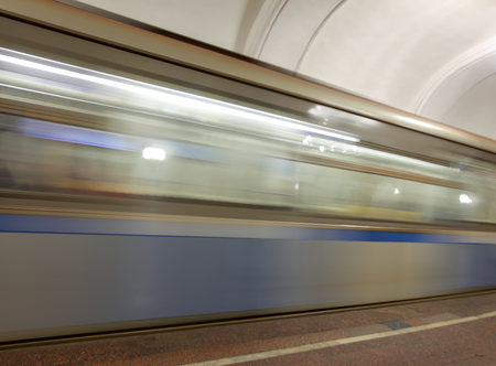 The train moves to the subway as a background. Stockfoto