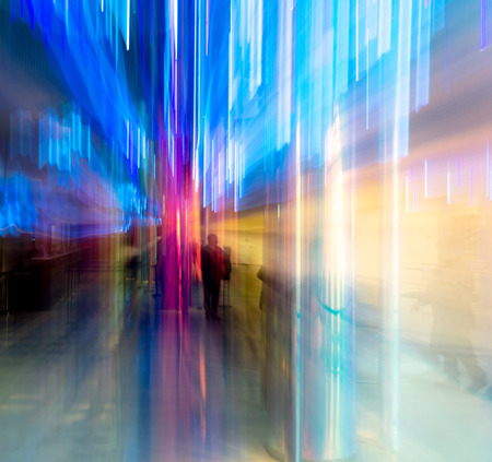 Blue light indoors in motion as abstract background. Banco de Imagens - 119234891