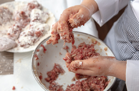 Minced meatballs in the kitchen .Hand cooking Stock fotó