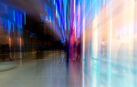 Blue light indoors in motion as abstract background. Banco de Imagens - 121373274