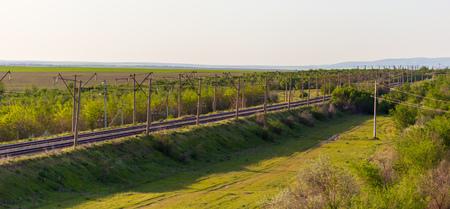 Railway in Kazakhstan steppe in spring.