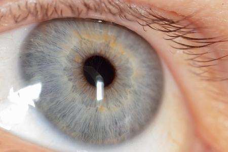 Blue eye on the man's face. Macro.