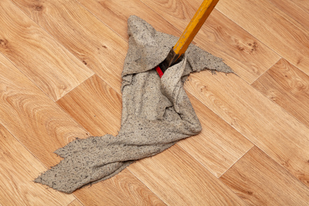 Cleaning a house with a rag on a mop.