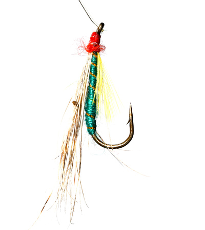 Feathers on a hook for fishing on a white background .