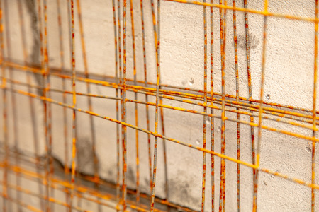Metal mesh for concrete wall at a construction site . Stockfoto