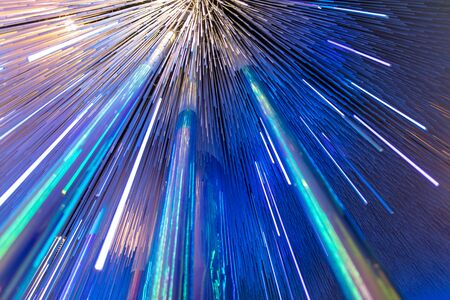 Blue glowing glass lines as abstract background. Texture