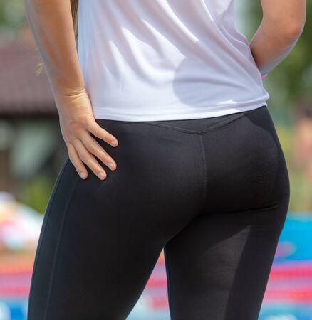 Beautiful ass girl in black pants . 版權商用圖片