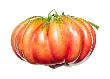 Big pink tomato isolated on white background.