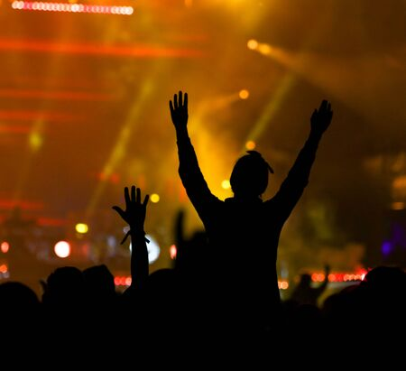 Silhouettes of people at a rock concert as background. 版權商用圖片 - 129754847