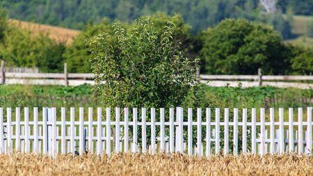 White wooden fence in the garden. Stock fotó
