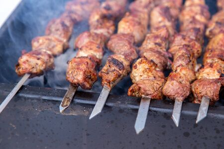 Barbecue skewers grilled on charcoal. Stock Photo - 129858477