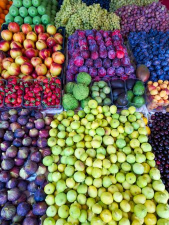 Ripe fruits on a market in Turkey as a background.
