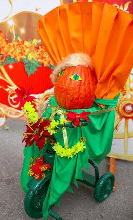 Lipetsk, Russia - September 21, 2019: Gastronomic festival. Crafts from pumpkin.