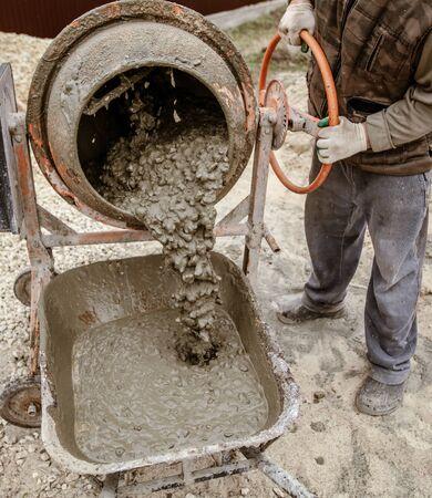 Mixing of concrete in a concrete mixer .
