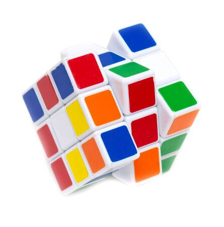 Colored rubik cube isolated on white background. Stock fotó