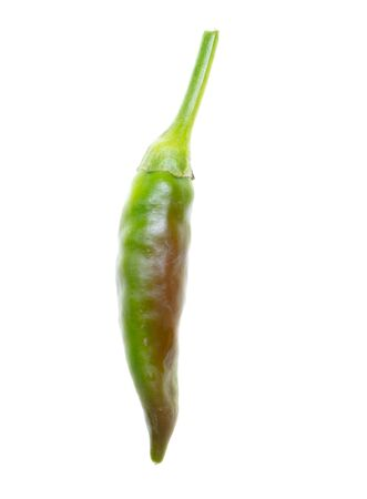 Green chili pepper isolated on a white background.