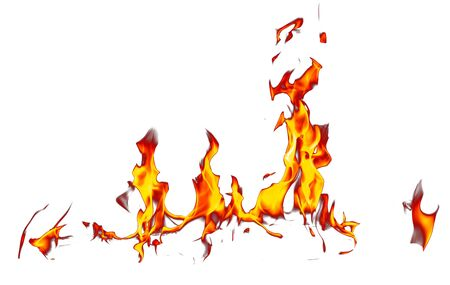 Flame of fire isolated on white background .