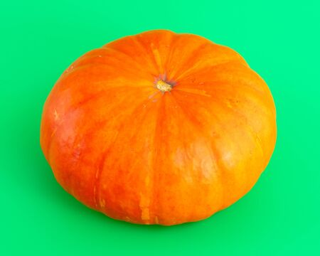 Orange pumpkin on a green background.